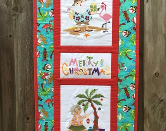 Tropical Merry Christmas embroidered and quilted wall hanging 14.5 x 29 Santa and Mrs. Claus / Florida / Beach / holiday decor / teal red