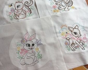 Vintage looking Playful animals - embroidered quilt blocks - ready to sew - 10 inch squares - 7 total / woodland / sewist / gift for her DIY