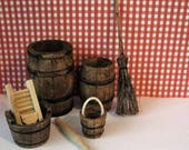 Dollhouse Tudor barrel setl,  Kitchen accessories. Tudor accessories,Dollhouse kitchen accessories, Twelfth scale dollhouse items