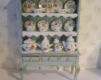 Dollhouse  Dresser, Dining room dresser, decorated dresser, tatty chic,duck egg blue, rosebuds , twelfth scale, a dollhouse miniature