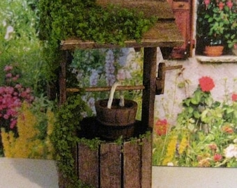 dollhouse  well, wishing well, wood well, , dollhouse wishing well, garden ornment,  ,dollhouse miniature, twelfth scale, garden well