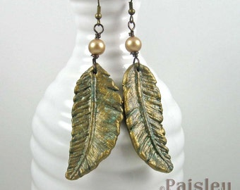 Brass Verdigris Feather Earrings, rustic polymer clay dangles on brass wires
