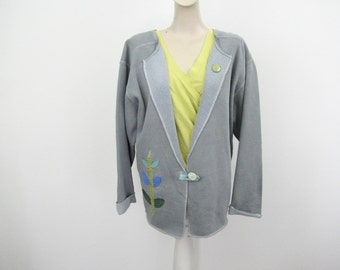 Sweatshirt Jacket, Nature Appliquéd Sweatshirt, Ladies Sweatshirt Cardigan, Deconstructed, Grey Sweatshirt , Altered Sweatshirt, Sizes M