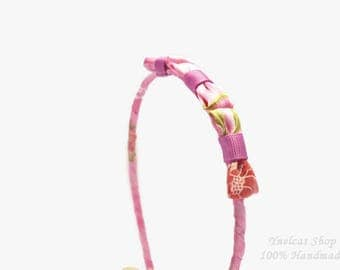 Fabric headband  - Pink purple green fabric metal headband for women and girls - Thin  headband - Adult headband