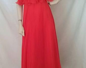 Miss Elliete California  70's Pinch Pleated Chiffon Dress Vibrant Orangs