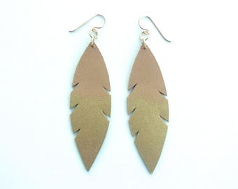 Metallic Dipped Leather Feather Earrings -  Tan and Gold with 14k Gold-Fill