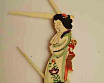 Vintage Chinese Hand Carved BONE grooming tool (grooming pick):  hand painted in a delicate palette with gilt accents-courtesan/entertainer