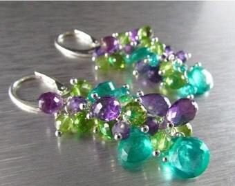 25% Off Colorful Aqua Green Quartz With Amethyst And Peridot Sterling Silver Cluster Dangle Earrings