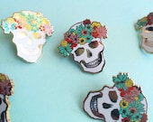 floral skull enamel pin hard enamel pin colorful brooch gift for her spring accessory flair easter lapel pin cloisonné gold metal skull pin