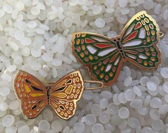vintage hair barrette, mismatched  butterflies , metal barrette, enamel, grean & orange