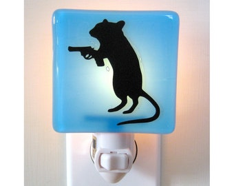 Funny Gift - Gerbil With a Gun Night Light - Hand Painted Glass