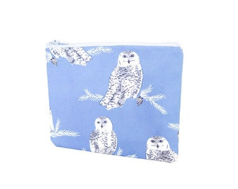 Small Pouch, Small Card Case, Fabric Pouch, Zipper Pouch, Coin Purse, Change Purse, Pouch, Snowy Owls Pouch, Blue Pouch, Fabric Zipper Pouch