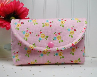 Snap Pouch / Large Snap Pouch / Cosmetic Pouch ... Bloom and Bliss Floral Pink