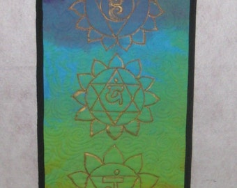 Quilted Chakra Banner with Sanskrit Wall Hanging, Hand Dyed & Painted