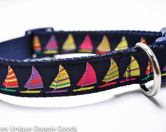 Multicolor Sailboats Dog Collar / Nautical Collar / Sailing / Navy and Yellow