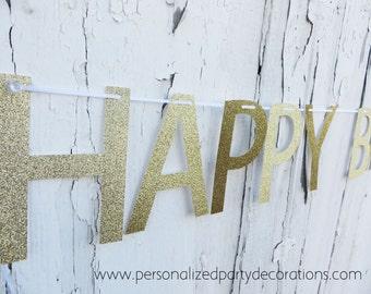 Gold Glitter Banner, Happy Birthday Banner, Birthday Party Decor, Birthday Banner- Quick SHIP