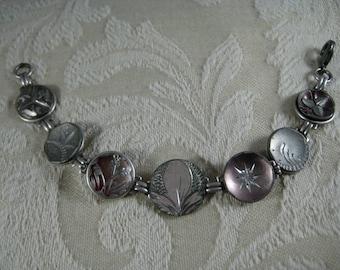 VICTORIAN PEWTER BUTTON Bracelet