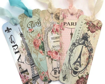 Bookmark, Paris Eiffel Tower, Vintage Retro Bookmark, Paper Roses Bookmark, Book Lover, Tea Party Bon Voyage Favor, French Favour, Australia