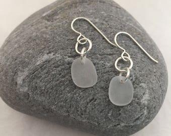 White Sea Glass Dangle Earrings