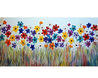 Original Flowers Painting Oil on Large Canvas Colorful Daisy 48x24 Ready to Ship Art by Luiza Vizoli