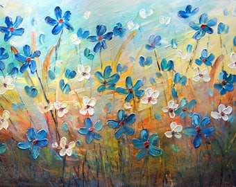 Flowers Painting FORGET ME NOT Mist Field Original Large Painting by Luiza Vizoli