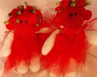 Valentine Sock Monkey, Recycled Baby Socks with Red Tutu and Roses~Mini Ballerina Monkey OOAK Doll Toy Plush Stuffed Animal Amigurumi