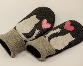 Cat Mittens from Felted Wool Dark and Light Grey Cat Applique Leather Palm Fleece Lining Eco Friendly  Up Cycled Size S