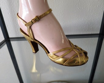 1940s Gold Strappy Pumps - Peep Toe Cuban Heel Ankle Strap Size 6
