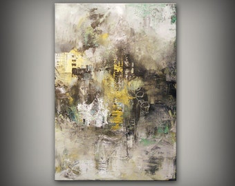 ORIGINAL canvas acrylic painting impasto grey yellow neutral abstract wall art large art painting wall decor original cityscape Mattsart