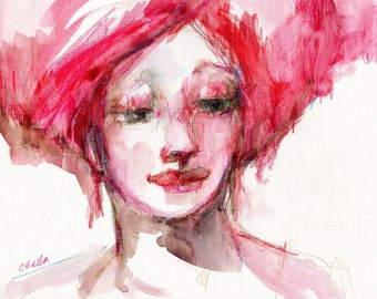 Female Portrait, Watercolor Woman, Red Hair, Wall Art, Figurative Art, Watercolor Art, Red and Pink, Free Shipping, Original Face