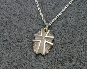 "SUNBURST CROSS PENDANT, Handmade in Sterling Silver, includes 18"" neckchain, Christian Cross, Christian Necklace"