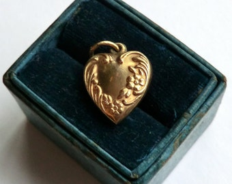 SALE 1940's Heart Charm 10K Gold Filled Flower Scroll Border Engraved Bob Back Side