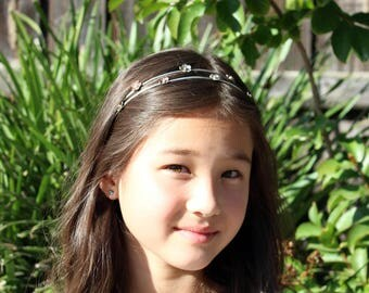 Cherry Blossom Sterling Silver Headband, Flower Girl, Wedding hair accessories, Bridesmaid hair accessories, Handmade by Hapa Girls