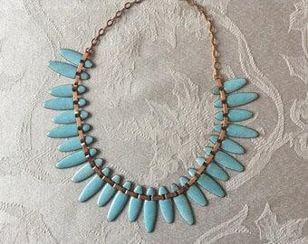 """Vintage Turquoise Enameled Copper 1950""""s Nefertiti Necklace and Bracelet"""