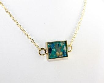 Abstract Art Pendant - Drip Painting on Acrylic in Brass Rectangle Necklace - Turquoise, Navy, Gold, Gray (Original Painting)