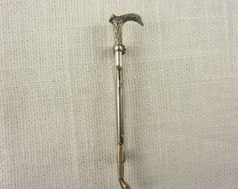 Vintage Sterling Silver Cane Handle Riding Crop Equestrian Brooch