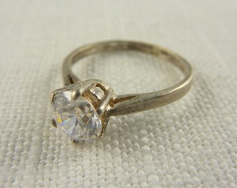 Vintage Sterling CZ Solitaire Ring Size 6.25