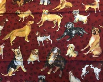 Dog days fabric by Sue Zipkion for Clothworks, cotton print. quilting, sewing,  Half-yard, burgundy paw print background