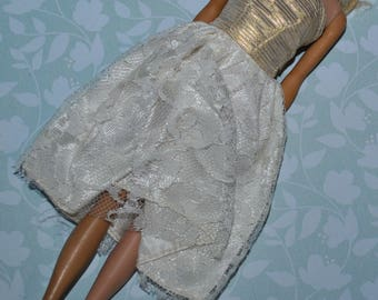Barbie Clone Dress fab lu Babs Gold Lame and Lace