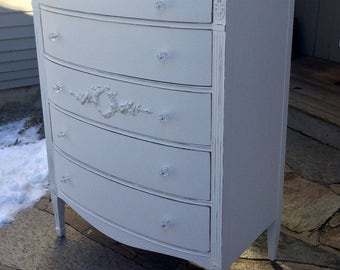 Vintage Solid Wood Tall Classic Chest, Shabby Chic French Cottage, Bow front dresser restored with rose garlands and wreaths