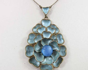 SALE Art Nouveau Necklace Victorian Czechoslovakia Blue Frosted Enamel Cabochon 9084