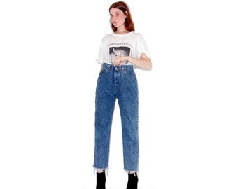 adorable 90s high waisted jeans / size small 26 waist / stonewash ripped jeans boyfriend jeans distressed jeans high waisted jeans mom jeans