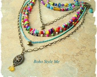 Boho Style Necklace, Colorful Layered Beaded Jewelry, Modern Hippie, Urban Gypsy, Boho Chic, Boho Style Me, Kaye Kraus