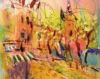 Expressive European town Painting, Impressionist  original art, village impressions, sidewalk cafe by Russ Potak