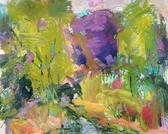 Springtime along Berkshire  brook  Impressionist landscape painting, 11 x 14 inches,  impressionist acrylic,  Russ Potak