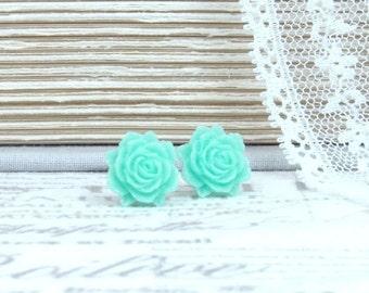Green Rose Earrings Rose Stud Earrings Seafoam Green Studs Green Flower Earrings Surgical Steel Studs