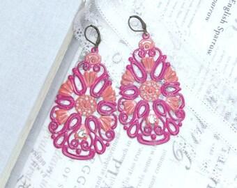 Pink Boho Earrings Gypsy Earrings Large Pink Earrings Pink And Orange Earrings Large Drop Earrings