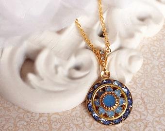 Opal Necklace - Blue - Art Deco Jewelry - Pendant - AURORA Artctic