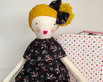 Fabric doll, blond hair doll, rag doll, handmade doll, handembroidered face black romper, girls gift, pretend play