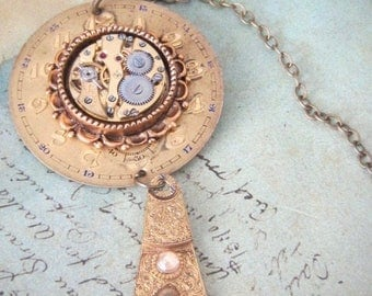 Golden Years - Steampunk Necklace - Repurposed Art